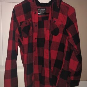 red and black plaid flanel with hood